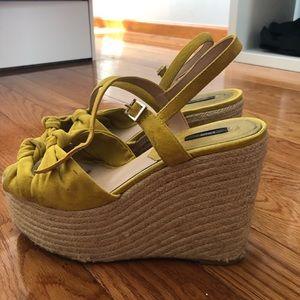 c26cccbc67c Mango yellow suede woven platform wedges sandals